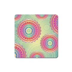 Abstract Geometric Wheels Pattern Square Magnet