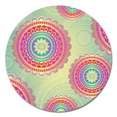 Abstract Geometric Wheels Pattern Magnet 5  (Round)