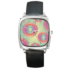 Abstract Geometric Wheels Pattern Square Metal Watch
