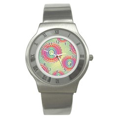 Abstract Geometric Wheels Pattern Stainless Steel Watch