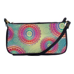 Abstract Geometric Wheels Pattern Shoulder Clutch Bags