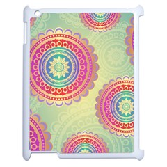 Abstract Geometric Wheels Pattern Apple iPad 2 Case (White)