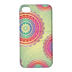 Abstract Geometric Wheels Pattern Apple iPhone 4/4S Hardshell Case with Stand