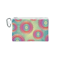 Abstract Geometric Wheels Pattern Canvas Cosmetic Bag (S)