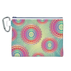 Abstract Geometric Wheels Pattern Canvas Cosmetic Bag (L)
