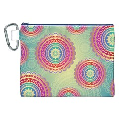 Abstract Geometric Wheels Pattern Canvas Cosmetic Bag (XXL)