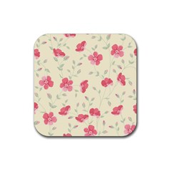 Seamless Flower Pattern Rubber Square Coaster (4 pack)