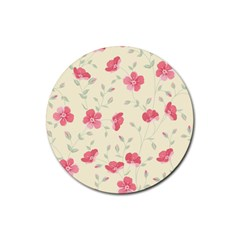 Seamless Flower Pattern Rubber Round Coaster (4 pack)
