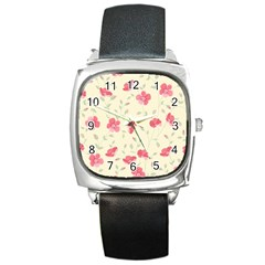 Seamless Flower Pattern Square Metal Watch
