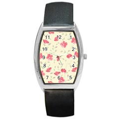 Seamless Flower Pattern Barrel Style Metal Watch