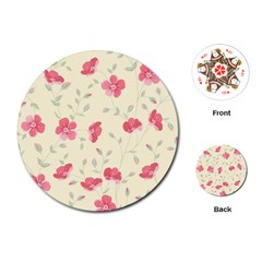 Seamless Flower Pattern Playing Cards (Round)