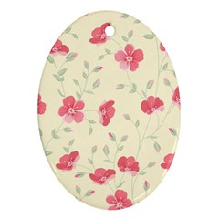 Seamless Flower Pattern Oval Ornament (Two Sides)