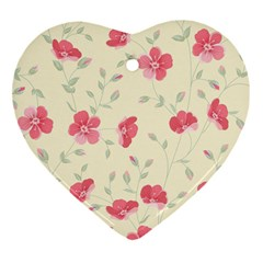 Seamless Flower Pattern Heart Ornament (Two Sides)