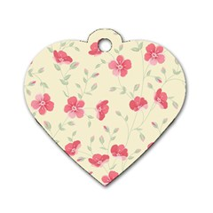 Seamless Flower Pattern Dog Tag Heart (One Side)