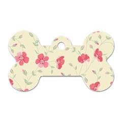 Seamless Flower Pattern Dog Tag Bone (One Side)