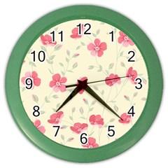 Seamless Flower Pattern Color Wall Clocks