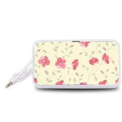 Seamless Flower Pattern Portable Speaker (White)