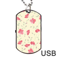 Seamless Flower Pattern Dog Tag USB Flash (Two Sides)