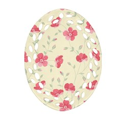 Seamless Flower Pattern Oval Filigree Ornament (Two Sides)