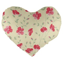 Seamless Flower Pattern Large 19  Premium Heart Shape Cushions
