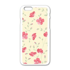 Seamless Flower Pattern Apple iPhone 6/6S White Enamel Case