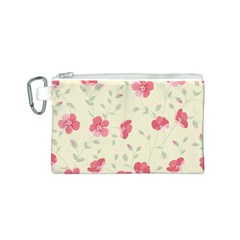 Seamless Flower Pattern Canvas Cosmetic Bag (S)