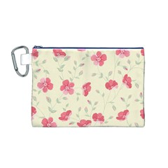 Seamless Flower Pattern Canvas Cosmetic Bag (M)