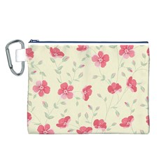 Seamless Flower Pattern Canvas Cosmetic Bag (L)