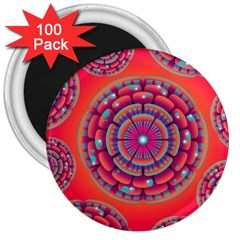 Pretty Floral Geometric Pattern 3  Magnets (100 pack)