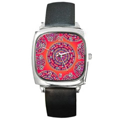 Pretty Floral Geometric Pattern Square Metal Watch
