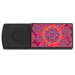 Pretty Floral Geometric Pattern USB Flash Drive Rectangular (4 GB)