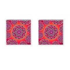 Pretty Floral Geometric Pattern Cufflinks (Square)