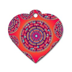 Pretty Floral Geometric Pattern Dog Tag Heart (Two Sides)