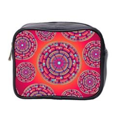 Pretty Floral Geometric Pattern Mini Toiletries Bag 2-Side