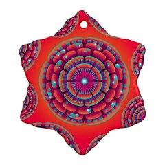 Pretty Floral Geometric Pattern Snowflake Ornament (Two Sides)