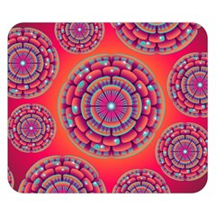 Pretty Floral Geometric Pattern Double Sided Flano Blanket (Small)