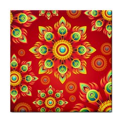 Red and Orange Floral Geometric Pattern Tile Coasters