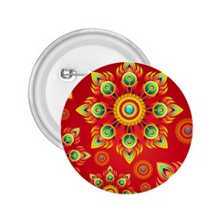 Red and Orange Floral Geometric Pattern 2.25  Buttons