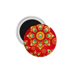 Red and Orange Floral Geometric Pattern 1.75  Magnets