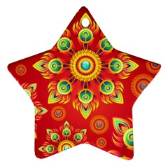Red and Orange Floral Geometric Pattern Ornament (Star)