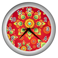 Red and Orange Floral Geometric Pattern Wall Clocks (Silver)