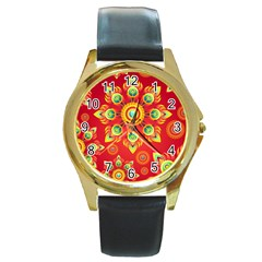Red and Orange Floral Geometric Pattern Round Gold Metal Watch