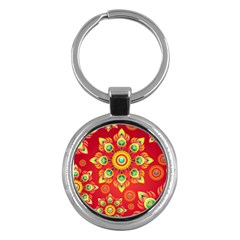 Red and Orange Floral Geometric Pattern Key Chains (Round)