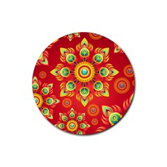 Red and Orange Floral Geometric Pattern Rubber Round Coaster (4 pack)