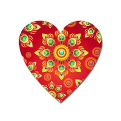 Red and Orange Floral Geometric Pattern Heart Magnet