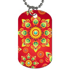 Red and Orange Floral Geometric Pattern Dog Tag (One Side)