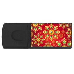 Red and Orange Floral Geometric Pattern USB Flash Drive Rectangular (1 GB)