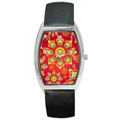 Red and Orange Floral Geometric Pattern Barrel Style Metal Watch