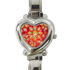 Red and Orange Floral Geometric Pattern Heart Italian Charm Watch