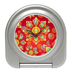 Red and Orange Floral Geometric Pattern Travel Alarm Clocks